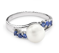 "Gold ring with gemstones ""Pearl 7"""