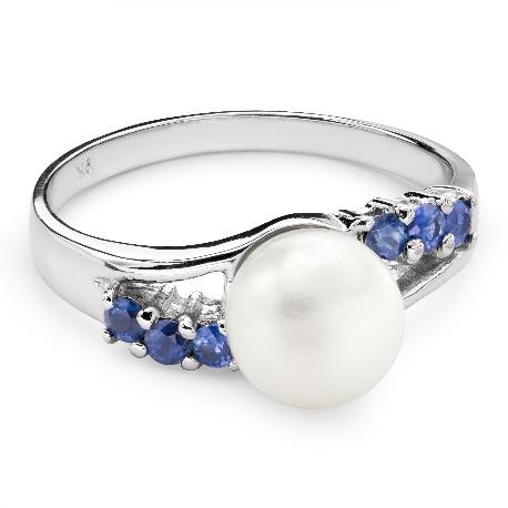 """Auksinis žiedas su brangakmeniais """"Perlas 7"""""""