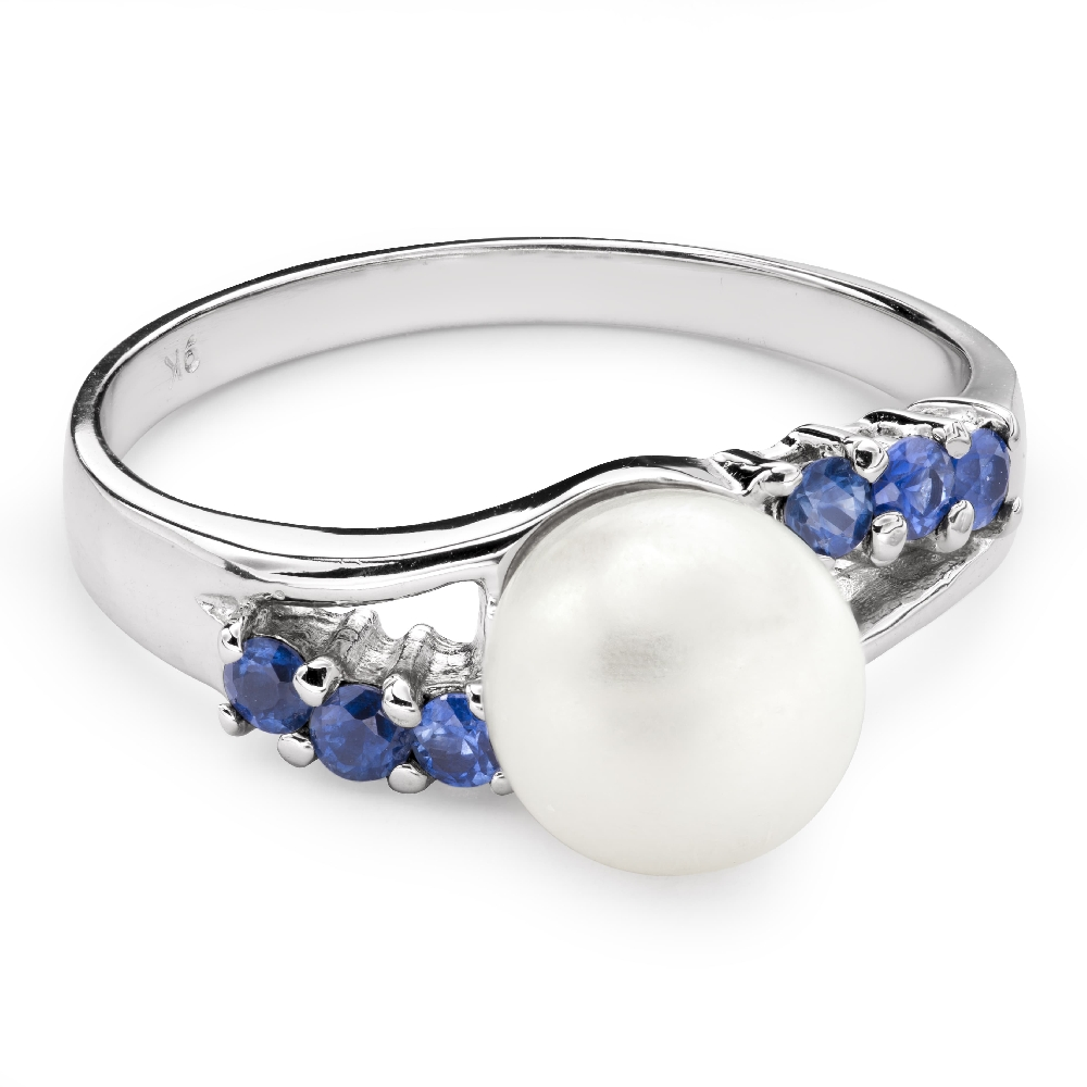 """Gold ring with gemstones """"Pearl 7"""""""