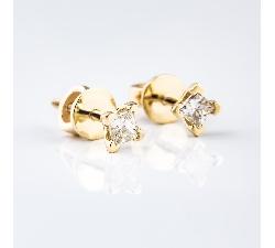 """Auksiniai auskarai su Deimantais """"Princesės"""""""