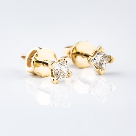 """Auksiniai auskarai su deimantais """"Princesės 314"""""""
