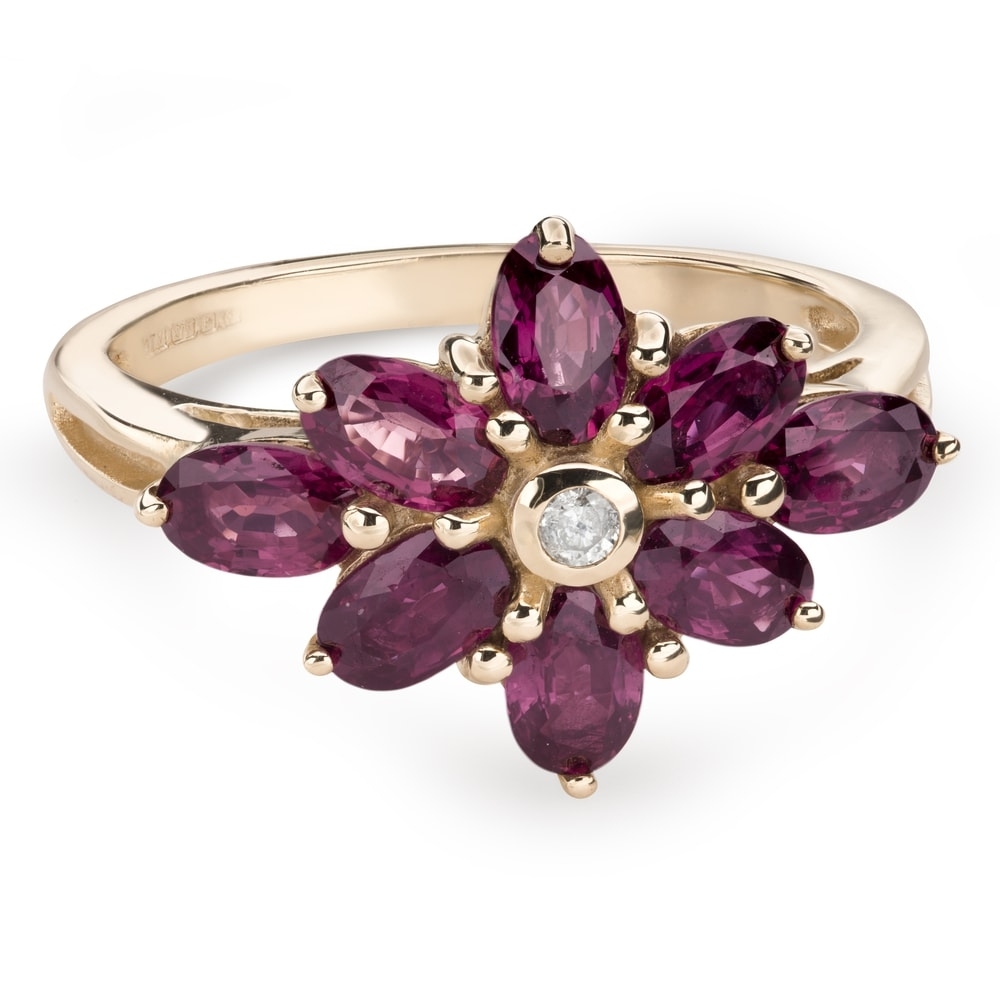 """Gold ring with gemstones """"Colors 75"""""""