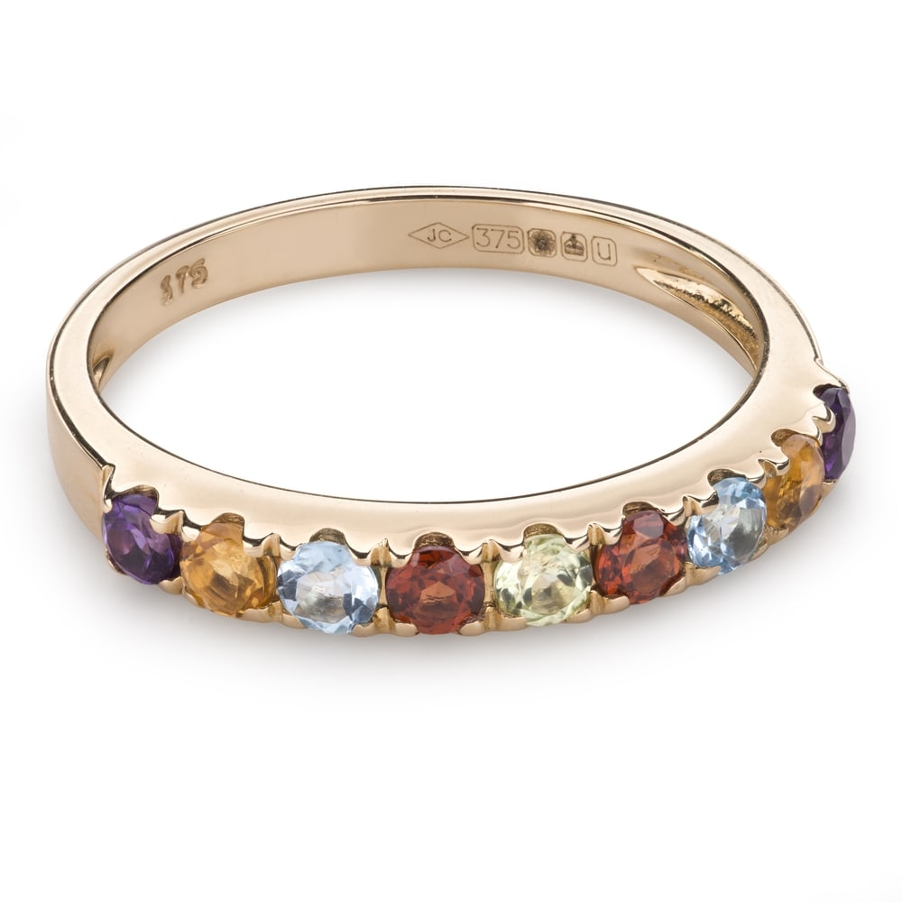 """Gold ring with gemstones """"Colors 78"""""""