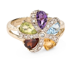 "Gold ring with gemstones ""Colors 86"""