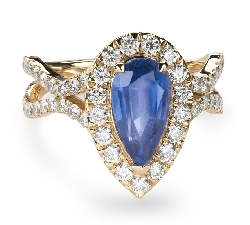 "Engagement ring with gemstones ""Sapphire 37"""