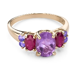 """Gold ring with gemstones """"Colors 104"""""""