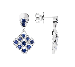 """Gold earrings with gemstones """"Sapphire 44"""""""