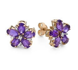 """Gold earrings with gemstones """"Colors 107"""""""