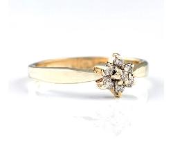 """Auksinis žiedas su Briliantais """"Gėlytė"""""""