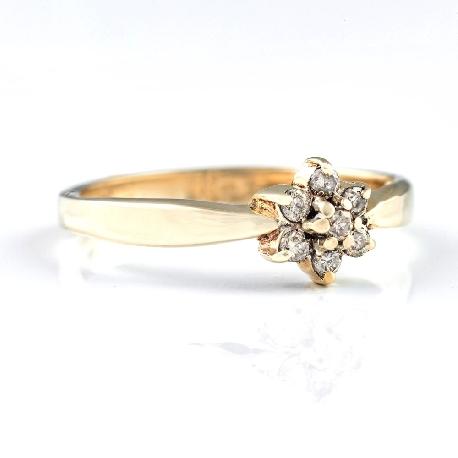 """Auksinis žiedas su Briliantais """"Gėlytė 3"""""""