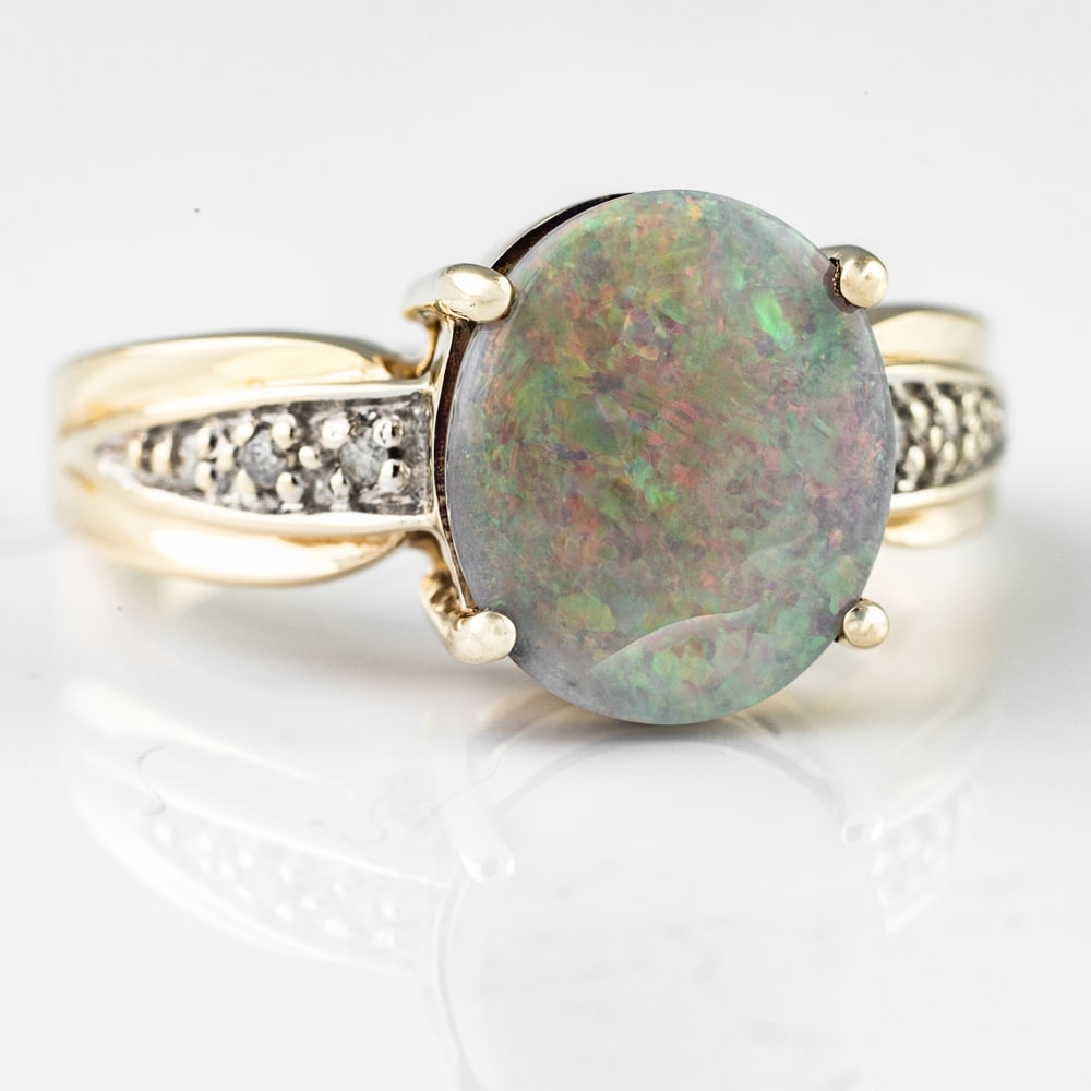 """Gold ring with gemstones """"Colors 14"""""""