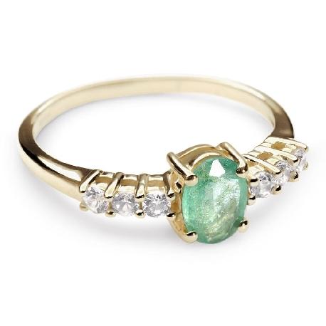 """Auksinis žiedas su Brangakmeniais """"Smaragdo žaluma"""""""