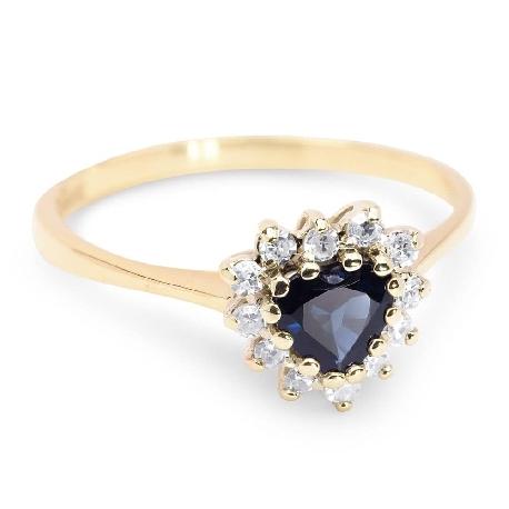 """Auksinis žiedas su Brangakmeniais """"Safyro širdis"""""""