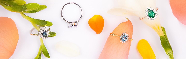 Sužadėtuvių žiedai su brangakmeniais (deimantais)